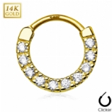 Crystal Row 14ct Yellow Gold Septum Clicker Hinged Ring