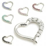 Crystal Lined Heart Shaped Surgical Steel Hinged Daith Ring Clicker