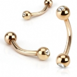 Crystal Rose Gold Anodised Curved Micro Barbell - 1.2mm