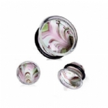Swirls Glass Single Flare Bullet Plug