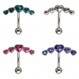 Crystal Heart Curve Reverse Belly Bar
