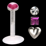 Value Pack Push Fit Bio Flex Lip Stud - 1.2mm - 4 Designs In One Pack! Pink Heart Logo, Plain Heart, White Gem & Pink Gem