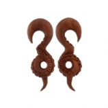 Octopus Carved Sabo Wood Ear Hanger