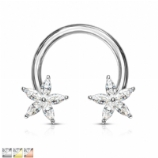 Crystal Flower Horseshoe Circular Barbell