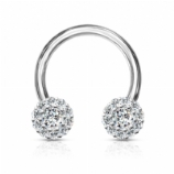 White Crystal Bling Horseshoe Circular Barbell 1.2mm