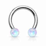 Internally Threaded Opal Ball Horseshoe Circular Barbell - 1.6mm