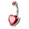 Giant Heart Crystal Belly Piercing Bar