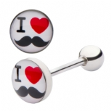 I Love Moustaches Tongue Bar 6mm-22mm