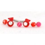 UV Balls & Spikes 1.2mm Curved Barbell Value Pack - Suitable For Eyebrow, Rook, Tragus Piercings - Red