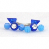 UV Balls & Spikes 1.2mm Curved Barbell Value Pack - Suitable For Eyebrow, Rook, Tragus Piercings - Blue