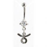 Taurus Sign Zodiac Dangle Belly Piercing Bar