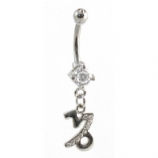 Capricorn Sign Zodiac Dangle Belly Piercing Bar