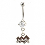 Aquarius Sign Zodiac Dangle Belly Piercing Bar