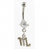 Scorpio Sign Zodiac Dangle Belly Piercing Bar