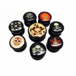 Pair of Skull Picture Acrylic Screw On Flesh Plugs