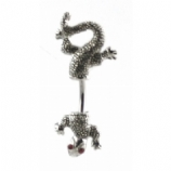 Textured Double Ended Lizard Gecko Belly Piercing Bar