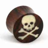 Skull & Crossbones Organic Wood Saddle Plug