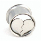 Broken Heart Double Flared Surgical Steel Eyelet Flesh Tunnel 8mm - 24mm