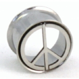 Peace Sign Double Flared Surgical Steel Eyelet Flesh Tunnel 8mm - 24mm
