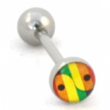 Rainbow Yin Yang Logo Tongue Piercing Bar
