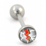 Lightning Strike Bolt Logo Tongue Piercing Bar