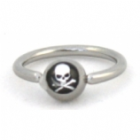New Style Skull & Bones Logo Ball Closure Nipple / Belly Ring