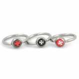 Iron Gothic Cross Logo Ball Closure Nipple / Belly Ring