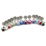 Multi Crystal Discoball Micro Labret Lip / Tragus Stud - 1.2mm
