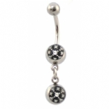 Arcade Game Skull & Bones Double Logo Dangle Belly Piercing Bar