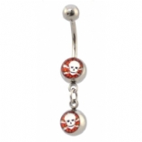 Skull & Web Double Logo Dangle Belly Piercing Bar