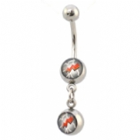 Lightning Bolt Strike Double Logo Dangle Belly Piercing Bar