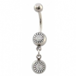 Black & White Hypno Star Double Logo Dangle Belly Piercing Bar