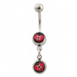 Broken Heart Stitched Double Logo Dangle Belly Piercing Bar