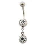 Compass Star Double Logo Dangle Belly Piercing Bar