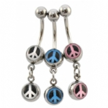 Peace Sign Double Logo Dangle Belly Piercing Bar
