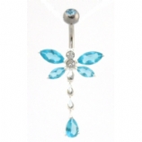 Dragonfly Crystal Dangle Sterling Silver Belly Bar 8mm - 12mm