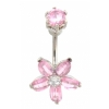 Prong Set Top Crystal Flower Belly Bar