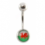 Welsh Wales Flag Dragon Logo Belly Piercing Bar