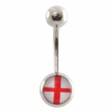 St George's Cross England English Flag Logo Belly Piercing Bar