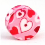 Pink Hearts Polygraphix Acrylic Plug 10mm - 20mm