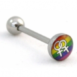 Lesbian Gay Pride Rainbow Flag Logo Tongue Piercing Bar