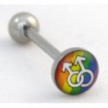 Male Gay Pride Rainbow Flag Logo Tongue Piercing Bar