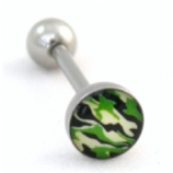 Camouflage Camo Army Print Logo Tongue Piercing Bar