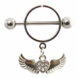 Crystal Heart & Angel Wings Dangle Nipple Rounder Shield & Bar