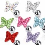 Butterfly Crystal Encrusted Surgical Steel Tragus / Helix Bar
