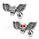 Winged Skull Surgical Steel Tragus / Helix Bar