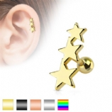 Triple Star Surgical Steel Tragus / Helix Bar