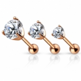 Round Prong Set Rose Gold Clear Crystal Tragus / Helix Bar