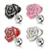 Large Enamel Coated Rose Flower Surgical Steel Tragus / Helix Bar