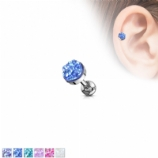 Druzy Disk Tragus Barbell / Helix Ear Cartilage Bar